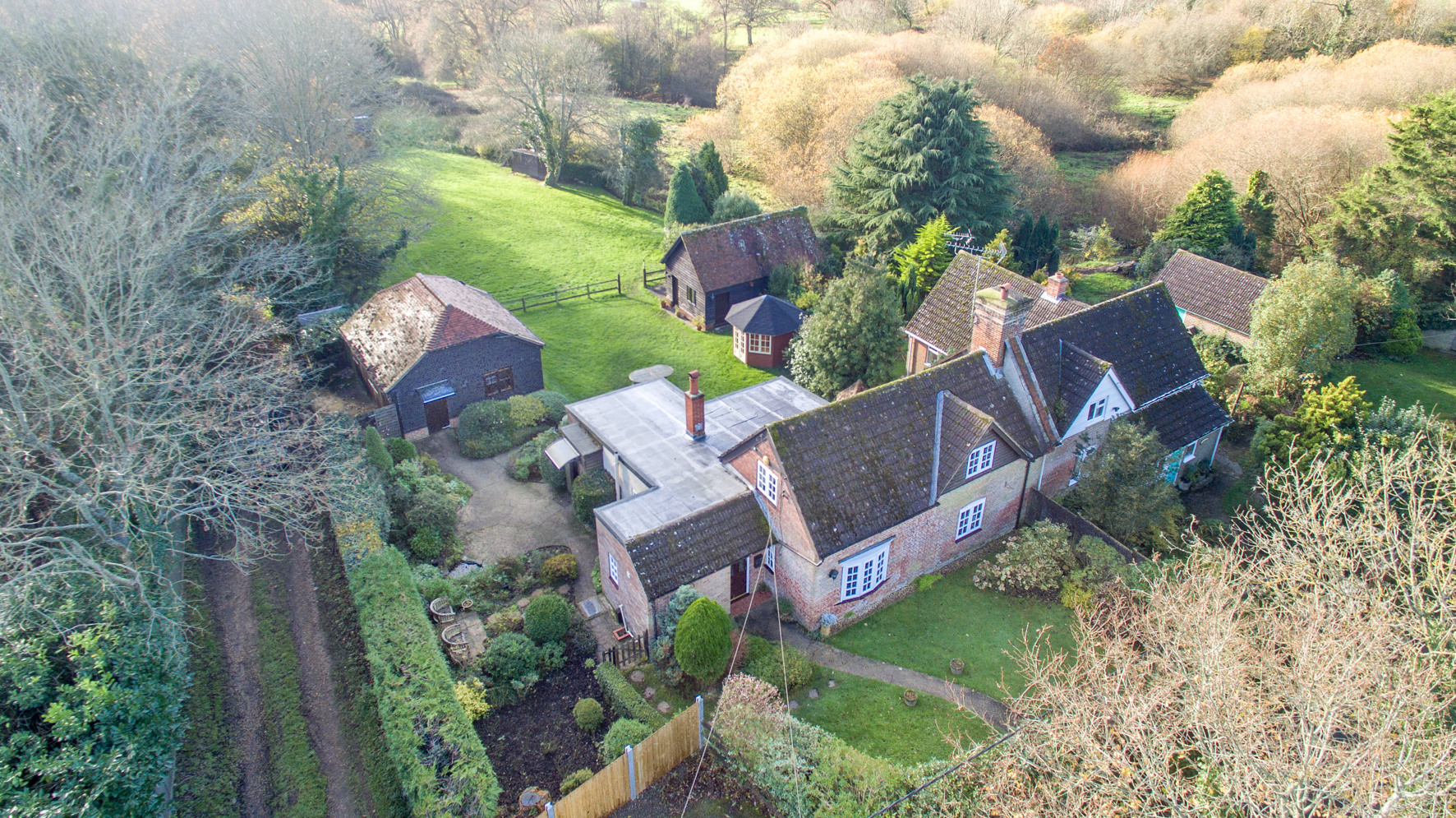 An aeriel view of the New Forest Dog Hotel Hale Woodgreen Hampshire home dog boarding
