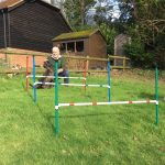 All set at the agility jumps at the New Forest Dog Hotel